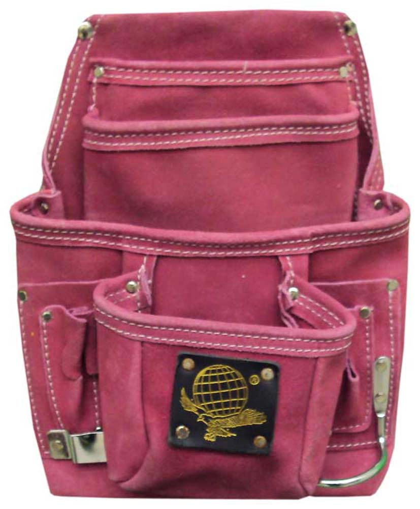 10 Pocket Tool Bag In Pink Suede :  ( Pack of  2 Pcs. )