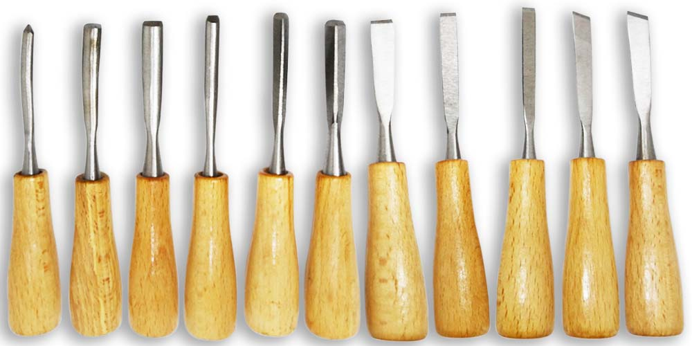 WEDGE: 11 Piece Set Of Fine Carving Tools, With Wooden Handles :  ( Pack of  5 Pc. )