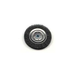 "Bench Grinder Wire Wheel, 6"""" Diameter, Coarse Crimped Wire, Narrow Face, 5/8"""" to 1/2"""" Arbor"